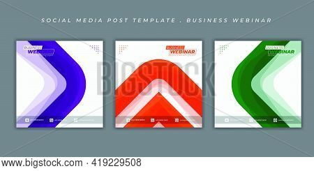 Set Of Social Media Post Template With Simple Shape Design. Simple Social Media Post Template Design
