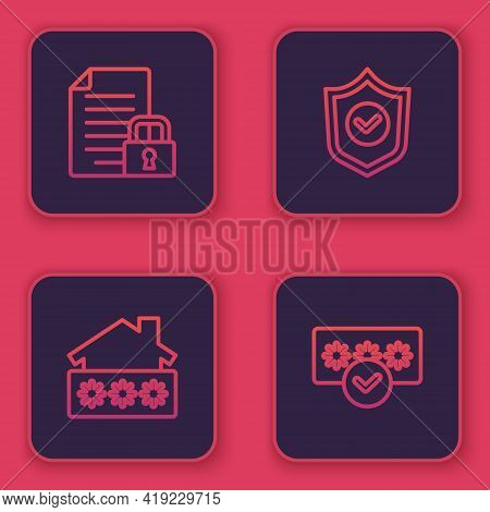 Set Line Document And Lock, House With Password, Shield Check Mark And Password Protection. Blue Squ