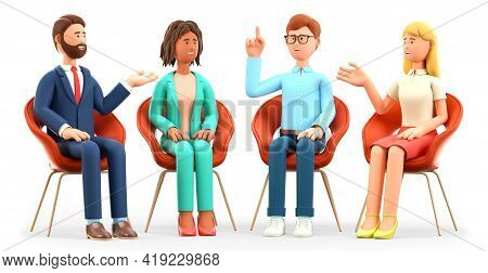 3d Illustration Of Business Team Meeting, Talking And Gesticulating In An Excited Manner. Happy Mult