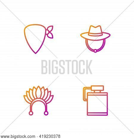 Set Line Canteen Water Bottle, Indian Headdress With Feathers, Cowboy Bandana And Western Cowboy Hat