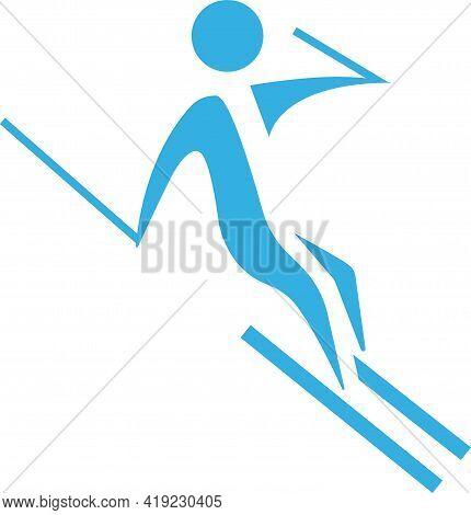 Winter Sport Icon - Downhill Skiing Icon. Vector Illustration