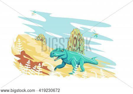 Dimetrodon Dinosaur In Nature Vector Illustration. Prehistoric