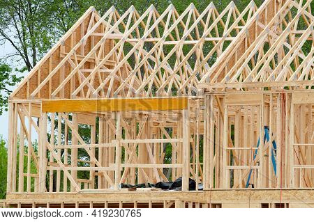 Rafters And Frame Of The New House