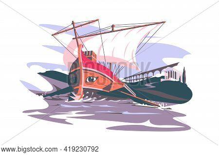 Ancient Rome Boat Composition Vector Illustration. Colosseum