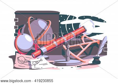 Tools For New Discoveries Vector Illustration. Globe