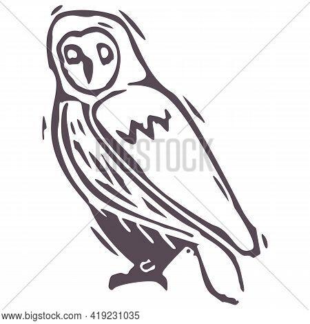 Hand Carved Bold Block Print Owl Icon Clip Art. Folk Illustration Design Element. Modern Boho Decora