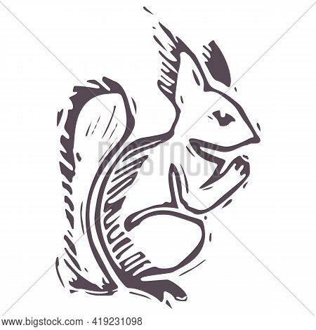 Hand Carved Bold Block Print Squirrel Icon Clip Art. Folk Illustration Design Element. Modern Boho D