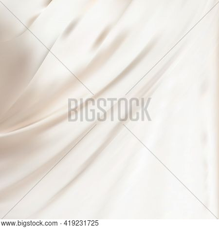 Abstract White Satin Silky Cloth,fabric Textile Drape With Crease Wavy Folds.with Soft Waves,waving