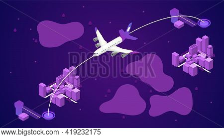 Airplane Line Path Of Air Plane Flight Route With Start Pin Point And Dash Line Trace. Airline Track