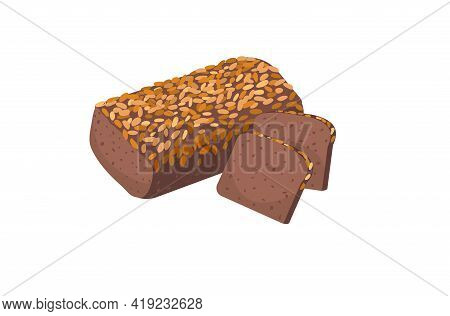 Rye Grain Bread. Slices Of Bread On A White Background. Isolated Object. Loaf, Rye, Whole Grain. Bak