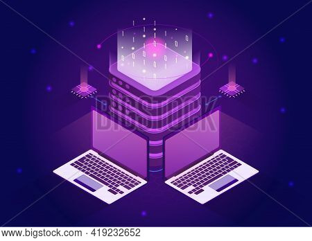 Isometric Quantum Computing Or Supercomputing. Blockchain Server, Quantum Computer, Server Room, Dat