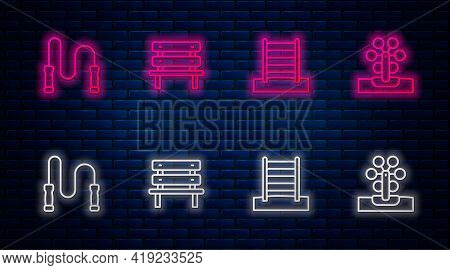 Set Line Bench, Swedish Wall, Jump Rope And Ferris Wheel. Glowing Neon Icon On Brick Wall. Vector