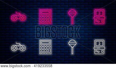Set Line Calculator, Lollipop, Gamepad And Tetris. Glowing Neon Icon On Brick Wall. Vector