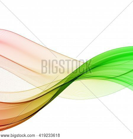 Abstract Bright Wave Isolated On White Background. Vector Illustration For Curl Motion Design. Color