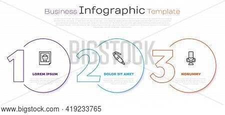 Set Line Photo, Fountain Pen Nib And Microphone. Business Infographic Template. Vector