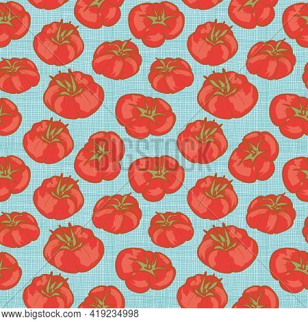 Heirloom Tomatoes Background Seamless Vector Pattern In A Modern Retro Style. Vector Illustration