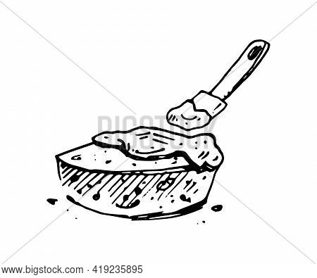 Baking Cake Process Hand Drawn Illustration. Cooking Of Dessert Isolated Vector Doodle Icon