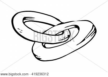 Two Bagels Hand Drawn Doodle Icon. Vector Sketch Illustration Of Pastry Isolated On White