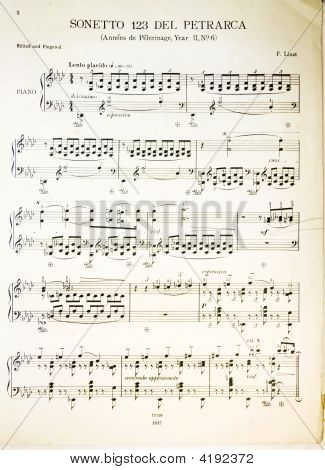 Original antique classical music notes from 1917. Composer Franz Liszt libretto by Petrarca. poster