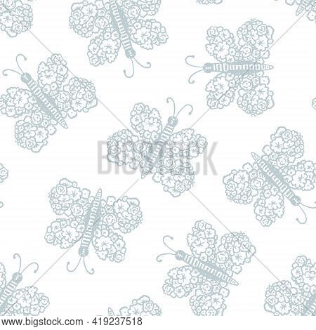 Tender Seamless Pattern With Blue And Gray Hand Drawn Floral Butterflies. Cute Texture With Butterfl