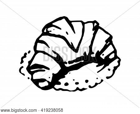 Croissant Hand Drawn Doodle Icon. Vector Sketch Of French Pastry, Isolated On White Background