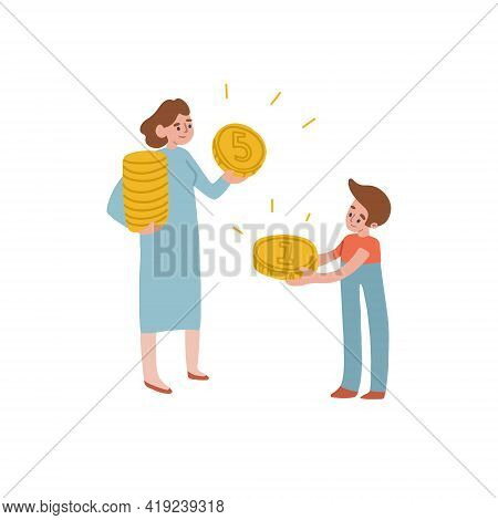 Mom Gives Her Son Money. The Woman And The Boy Are Holding Money. Childrens Finance. Vector Isolated
