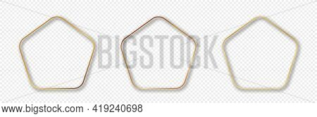 Set Of Three Gold Glowing Rounded Pentagon Shape Frames Isolated On Transparent Background. Shiny Fr