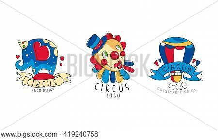 Circus Logo Design Set, Carnival And Circus Show Retro Badges And Labels Hand Drawn Vector Illustrat