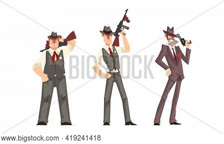 Male Gangsters In Retro Suits With Gun Set, Mafia Mob Characters Cartoon Vector Illustration