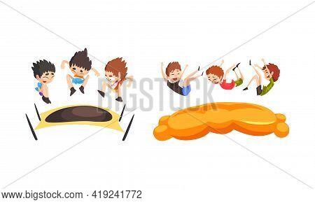 Kids Jumping On Trampoline Set, Cute Boys Bouncing And Having Fun Cartoon Vector Illustration