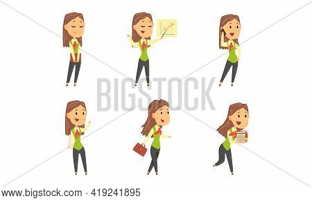Businesswoman Character With Briefcase Multitasking Having Busy Working Day Vector Set