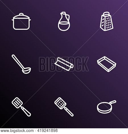 Kitchenware Icons Line Style Set With Baking Sheet, Tin Foil, Olive Oil And Other Dishware Elements.