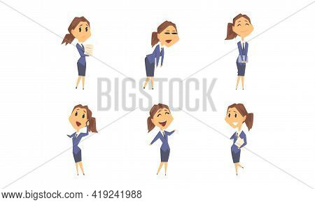 Businesswoman Character Having Busy Working Day Vector Set