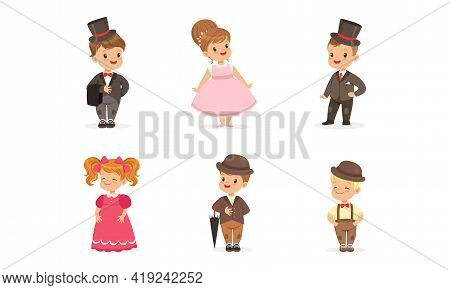 Little Children Wearing Elegant Attire And Outfit Vector Set