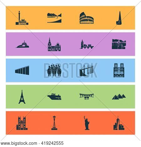 Landmarks Icons Set With Pyramids Of Giza, Statue Of Liberty, Terracota Warriors And Other Reptile E