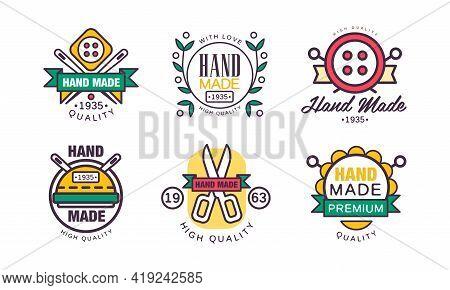Handmade Needlework Craft Badges And Workshop Emblem Vector Set