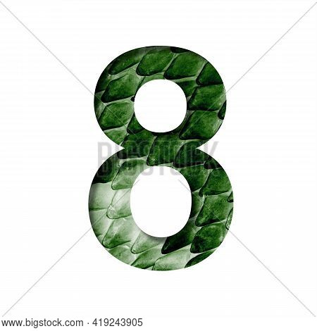 Dragon Scale Font. Digit Eight, 8 Cut Out Of Paper On The Background Of The Dark Green Skin Of A Mys