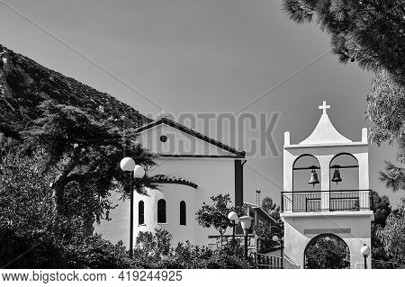 Orthodox Church With A Belfry On The Island Of Cephalonia In Greece, Monochrome