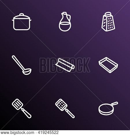 Utensil Icons Line Style Set With Baking Sheet, Tin Foil, Olive Oil And Other Dishware Elements. Iso