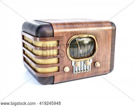 3D rendering of vintage wooden radio set on white background
