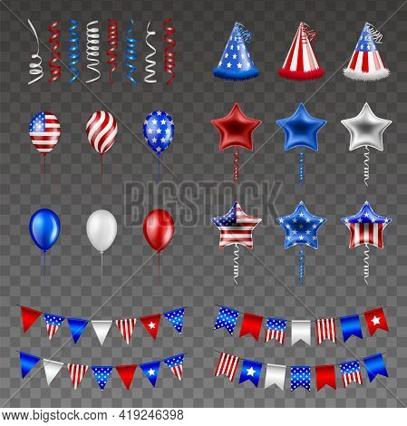 Set Of American Independence Day Party Elements. 4th Of July Isolated Streamers, Hats, Balloons And