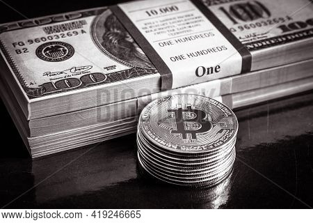 Bitcoin With Dollar Cash Stacks, Digital Virtual Crypto Currency Bitcoin And Paper Money Pile. Us Do
