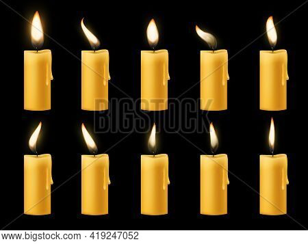 Animation Candle Flame. Romantic Holiday Animated Candlelight Collection, Wax Bright Burning Paraffi