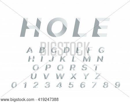 Hole Font. 3d Deep Shadowed Typography Design, Push Deepening Alphabet Shapes, Incline Diagonally Gr