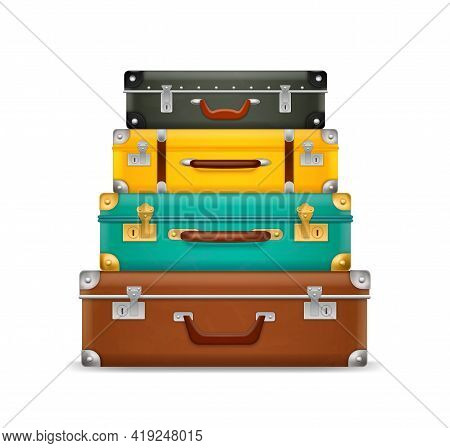 Pile Vintage Suitcases. Realistic Old Fashioned Colorful Briefcases Stack, Travel Bags Pyramid, Ream