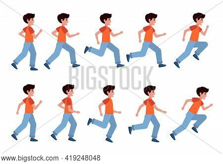 Running Boy. Young Athlete Training, Jogger Profile Sprint, Kids Marathon, Side View Different Hand