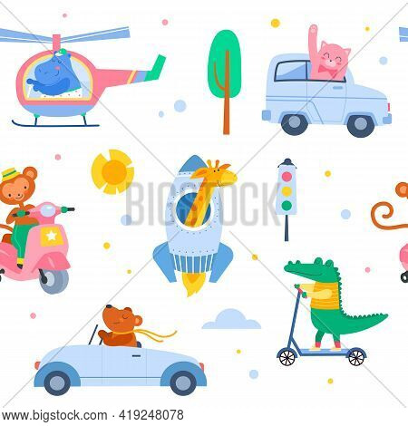 Animal Transport Seamless Pattern. Cute Characters In Vehicles, Baby Beasts In Helicopter And Scoote