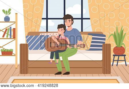Father Kids Time. Happy Dad Teaches Cute Little Daughter Play Music On Guitar, Parent And Child In R
