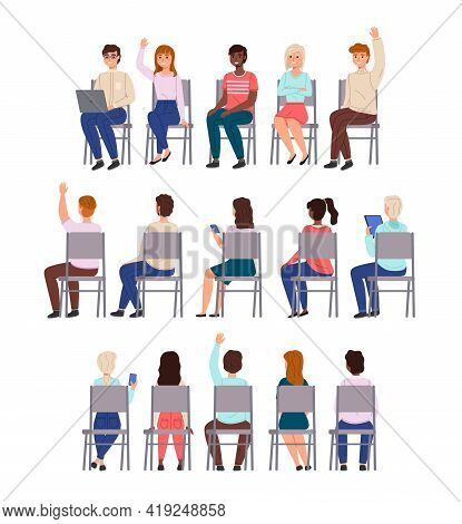 Sitting People. Young Men And Women Sit Chairs In Row Collection, Different Students Back, Front And
