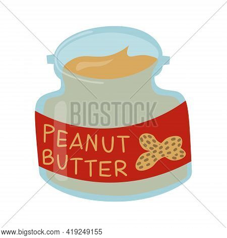 Peanut Butter In Glass Jar With Red Label. Nutty Creamy Spread Isolated On White Background.